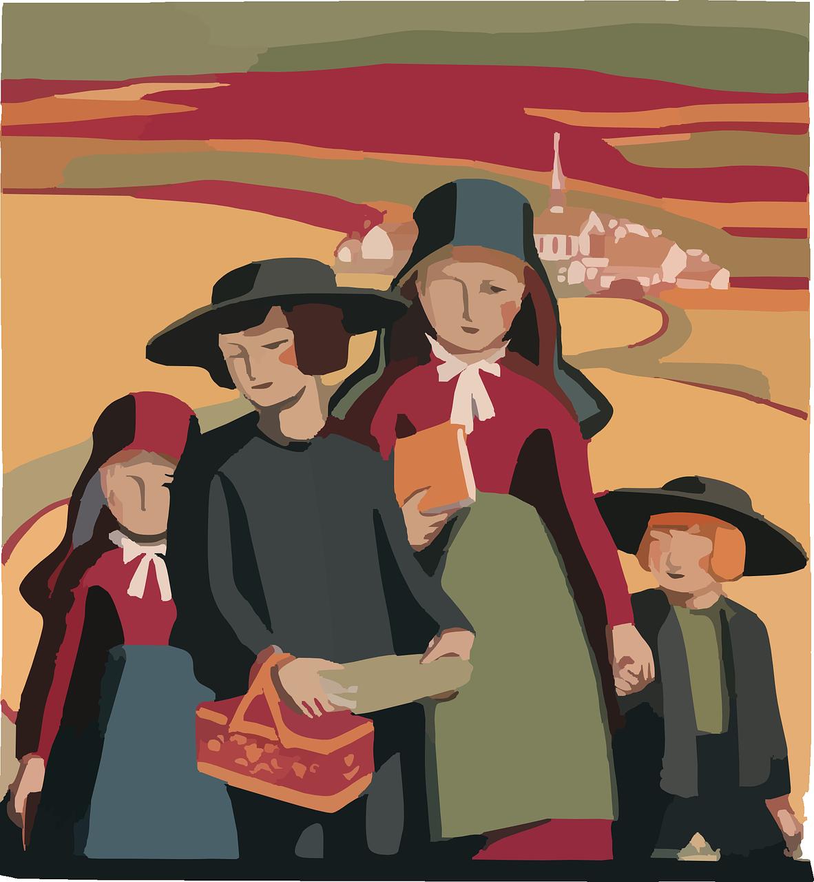 Amish family.
