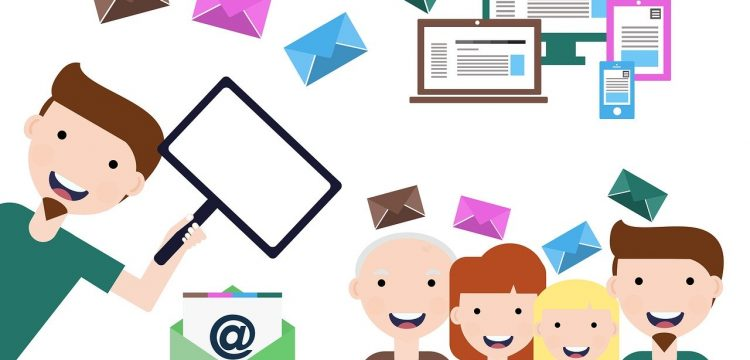 Graphic representing email marketing.