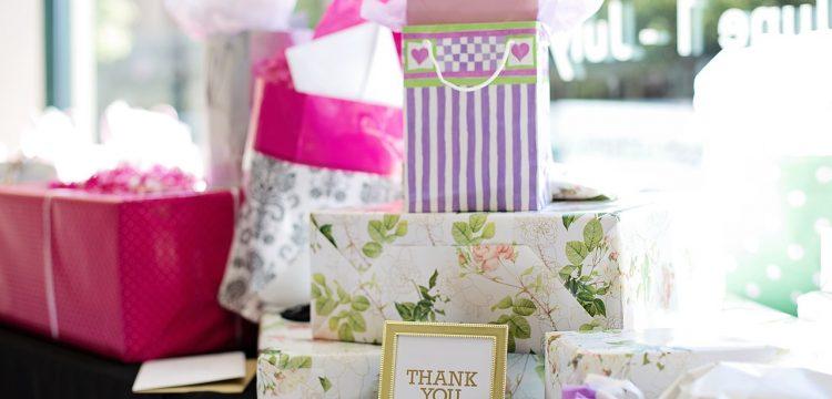 Gifts at a bridal shower.