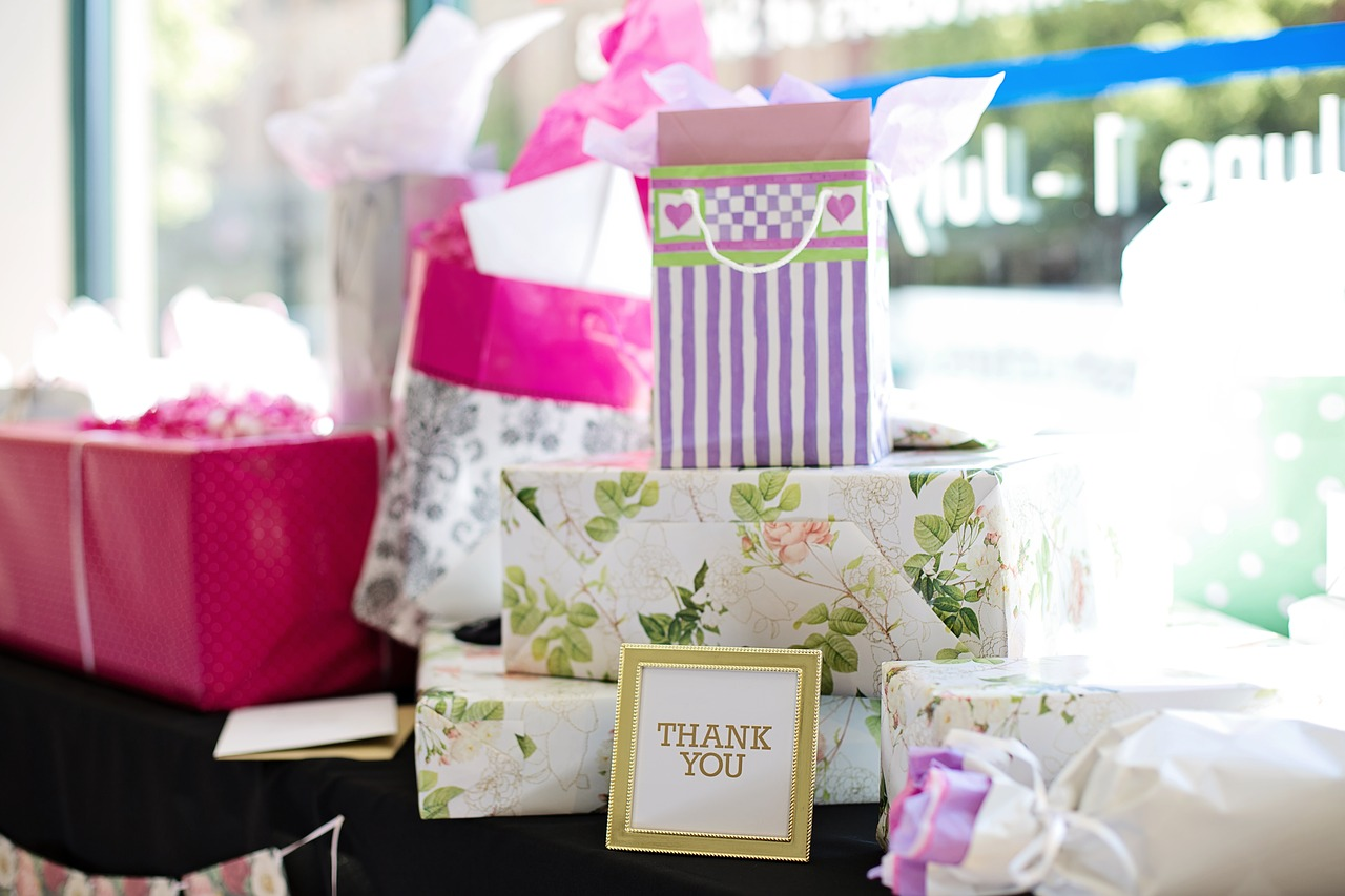 Gifts at a bridal shower.
