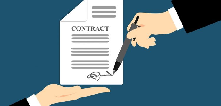 Graphic of a signed contract.