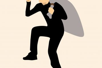A graphic of a burglar.