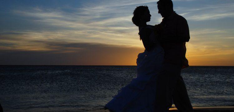wedding couple at sunset