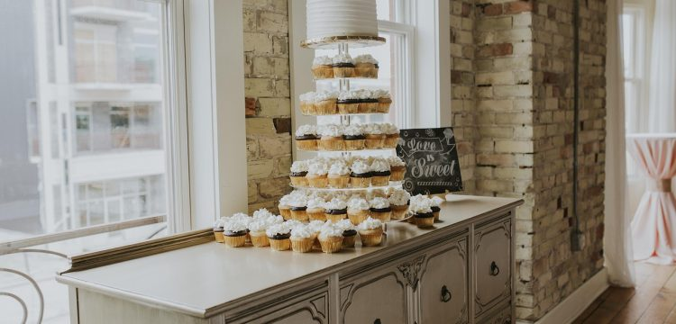 Cake table at a wedding reception.