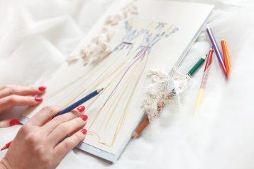 Designer sketch of bridal dresses.