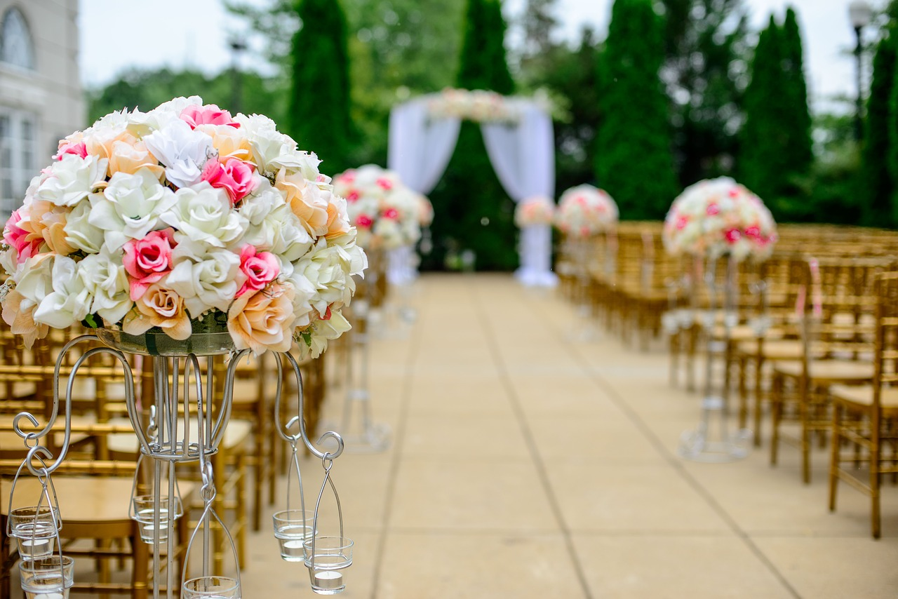 An outdoor wedding aisle.