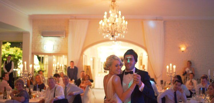Couple dancing at wedding reception.
