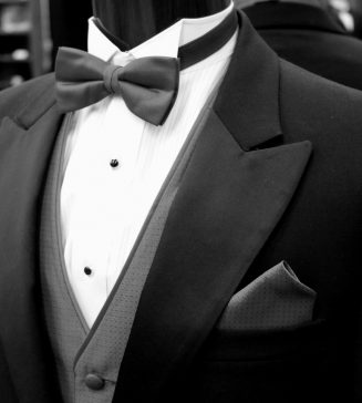 A mannequin wearing a tux.