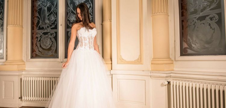 Corseted wedding gown.