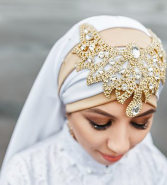 Muslim bride with hijab.