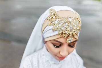 Muslim bride with hijab.