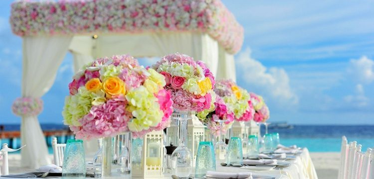 Beautiful beach wedding reception table.