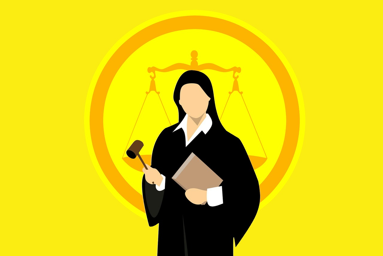Justice scales and a judge.