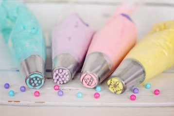 Icing bags for cake decorating.