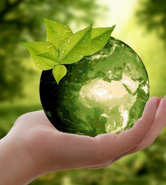 Green globe signifying sustainability.