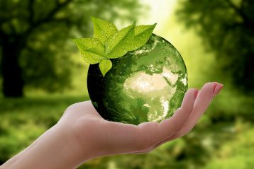 Green globe signifying sustainability.