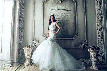 Woman in a fancy wedding gown.