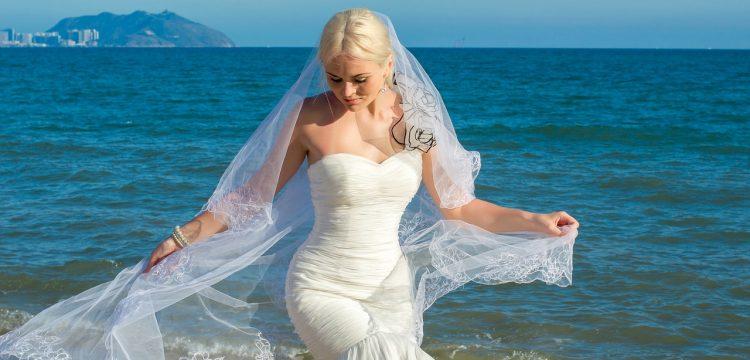 Bride on a beach.