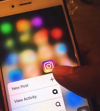 Instagram logo on a phone.