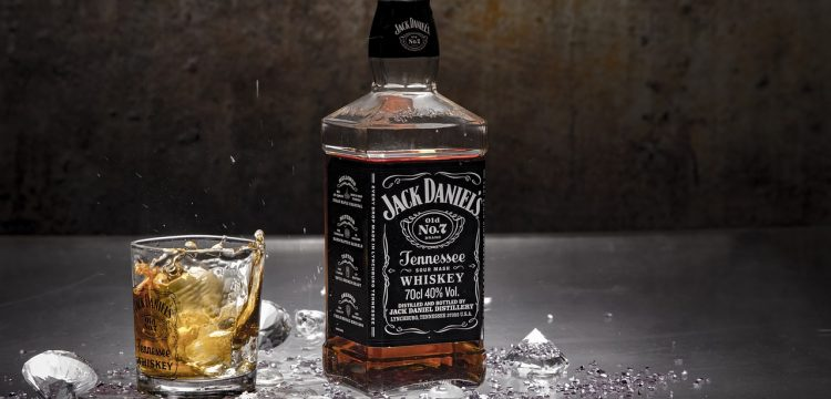 Bottle of Jack Daniel's with a glass.
