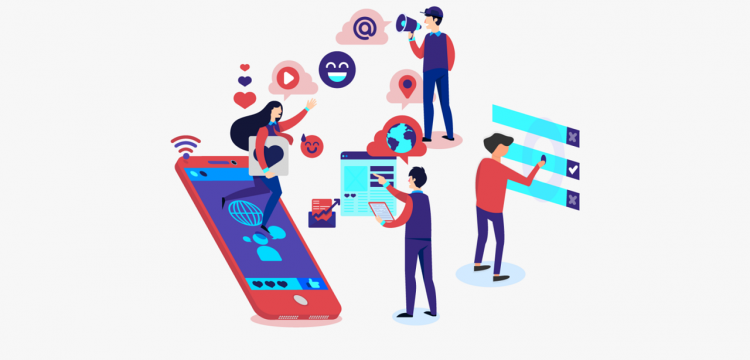 Graphic depicting social media marketing.