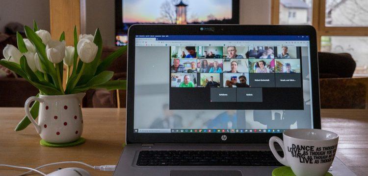A virtual meeting being held.