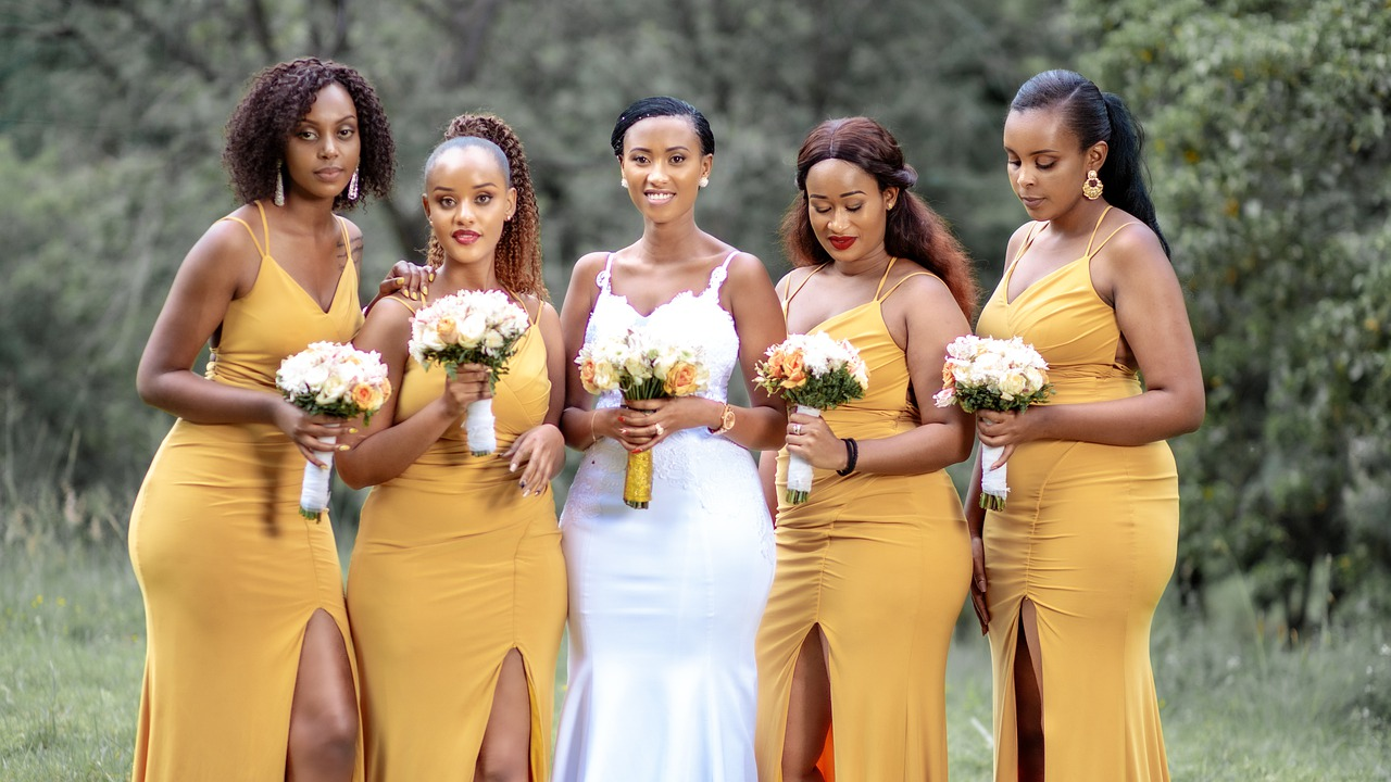 A bride with her bridesmaids.