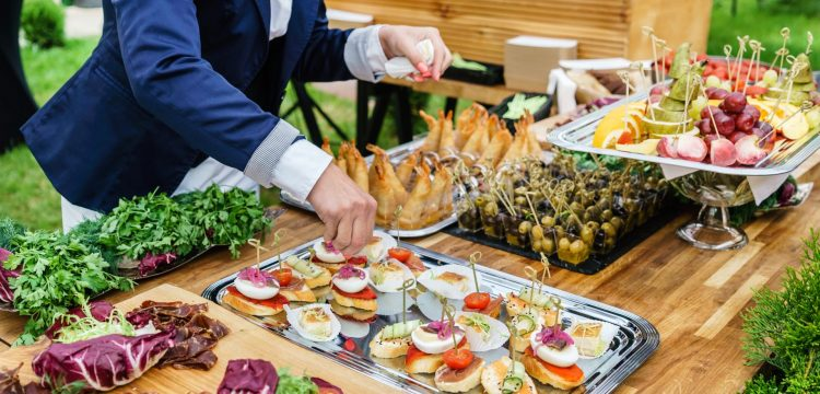 A catered wedding reception.