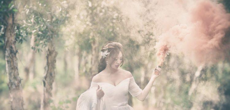 Bride walking.