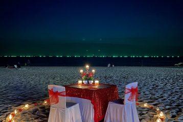 Nighttime beach wedding.