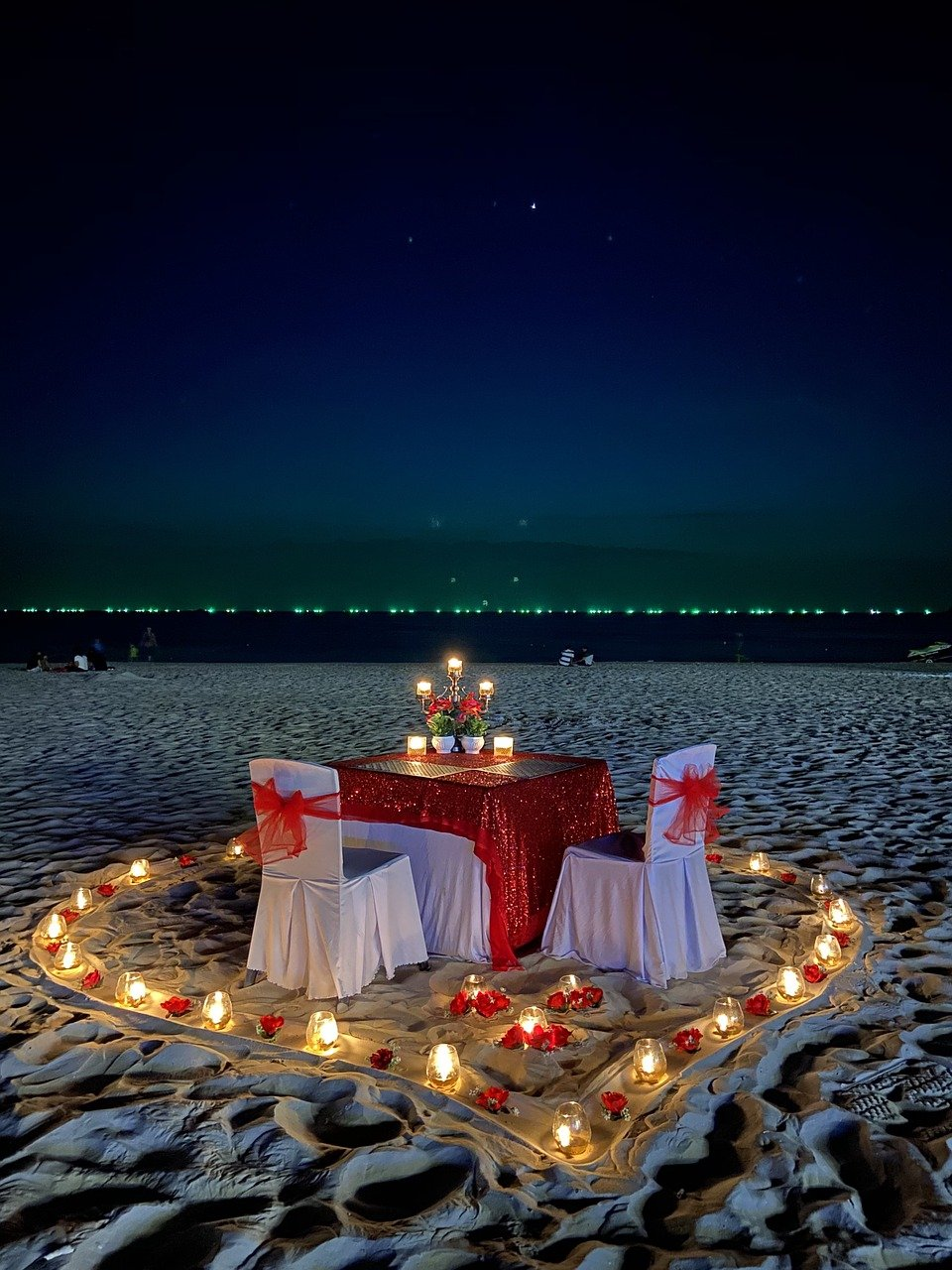 Nighttime beach wedding.