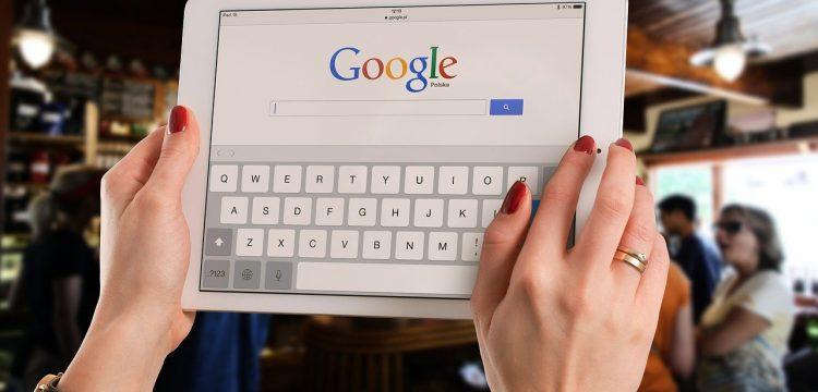 The Google logo on a computer.
