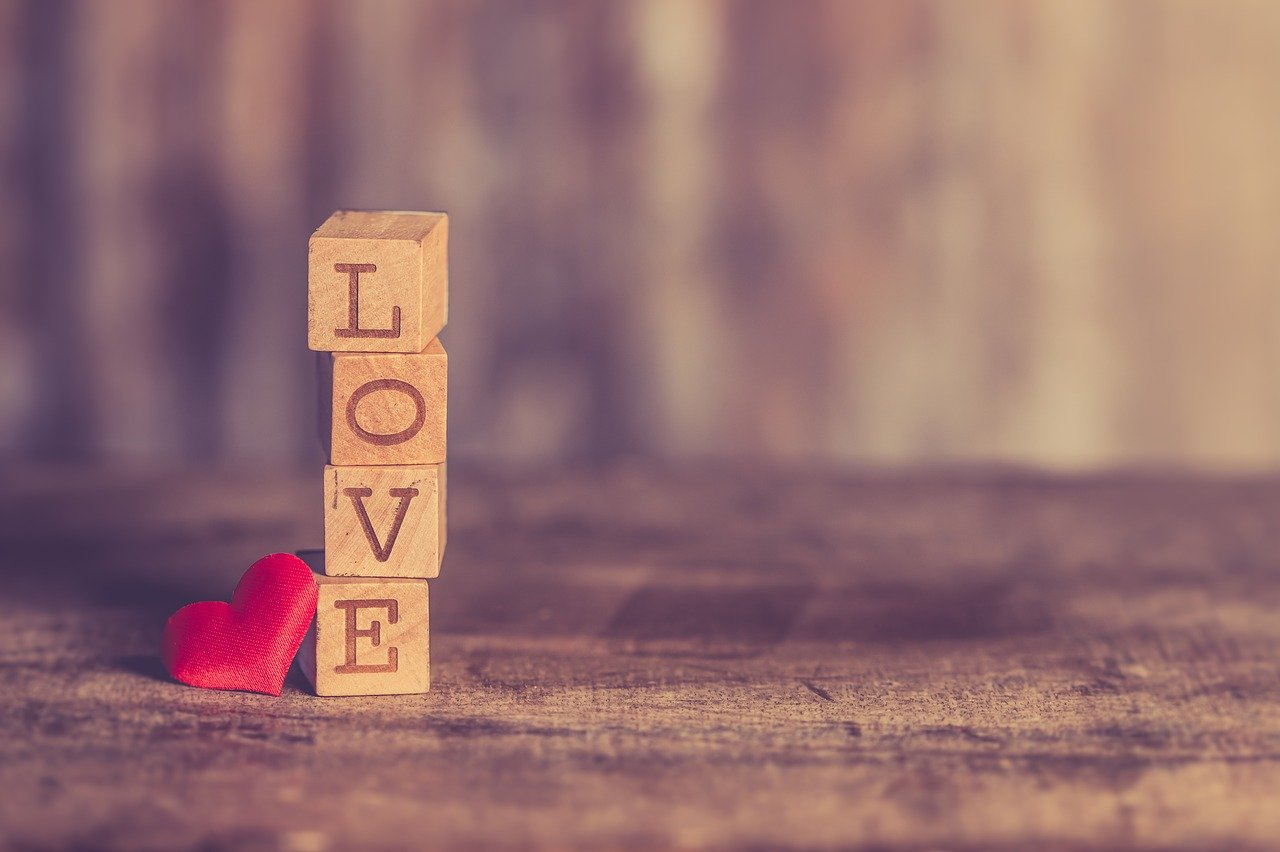 """Letter blocks that spell out """"love""""."""