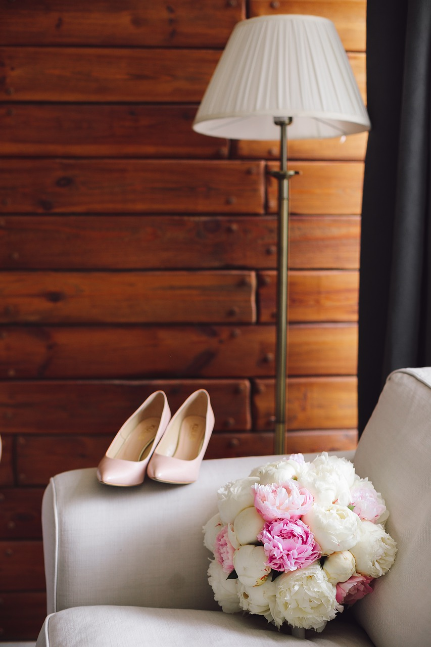 Casual wedding items in a log cabin.