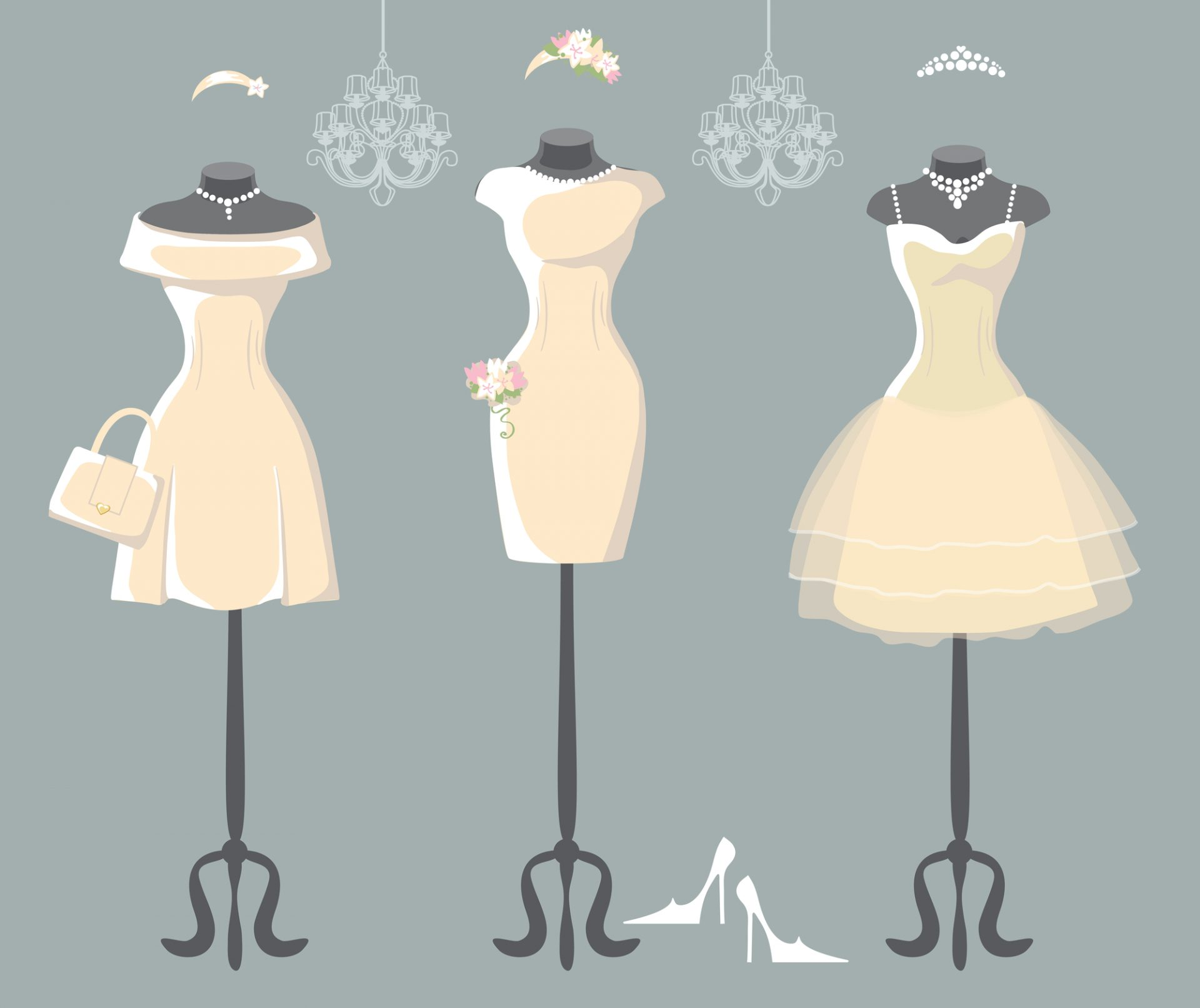 Graphic of wedding dress sketches.