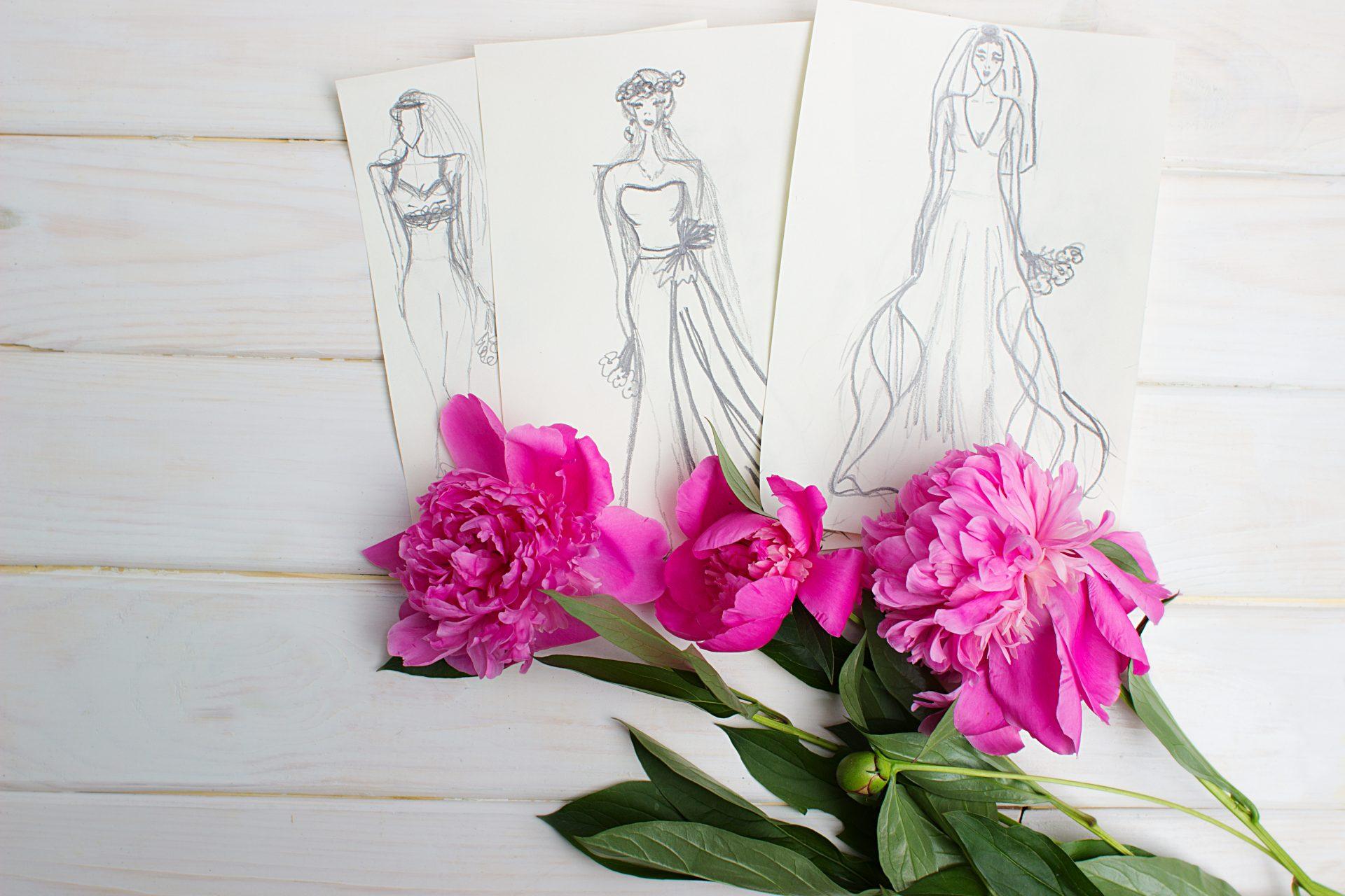 Wedding dress design sketch.