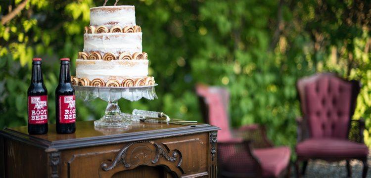 Cake at a wedding reception.