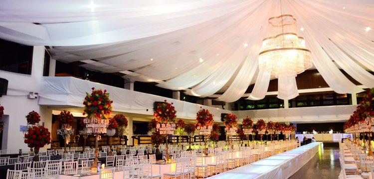 Glamorous wedding reception hall.