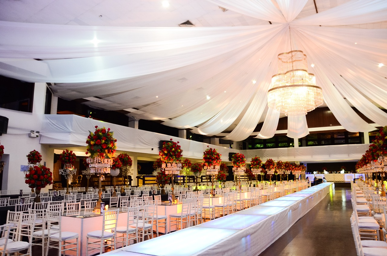Glamorous wedding reception hall.