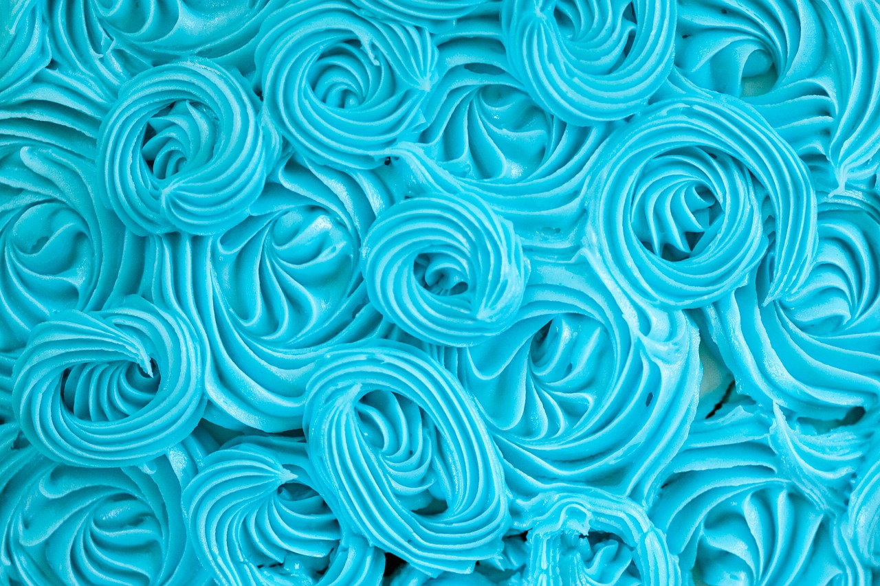 Blue icing on a cake.