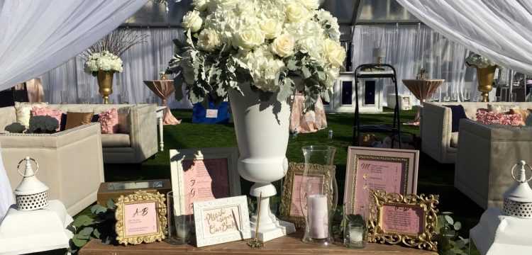 Wedding guest book table at a reception.