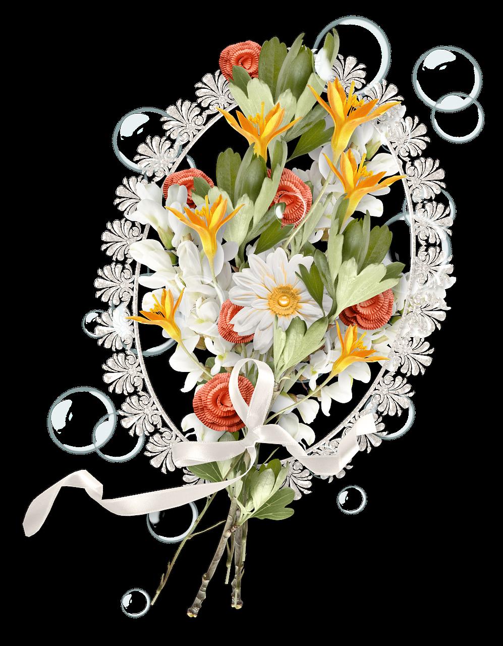 Crocheted flower bouquet.