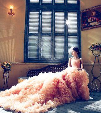 Wedding dress with ruffles.