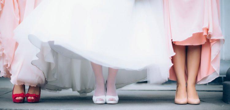 Bottom of a bride's dress.
