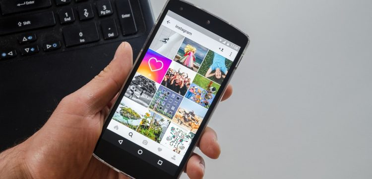 Instagram on a phone.