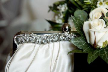 White bridal purse.