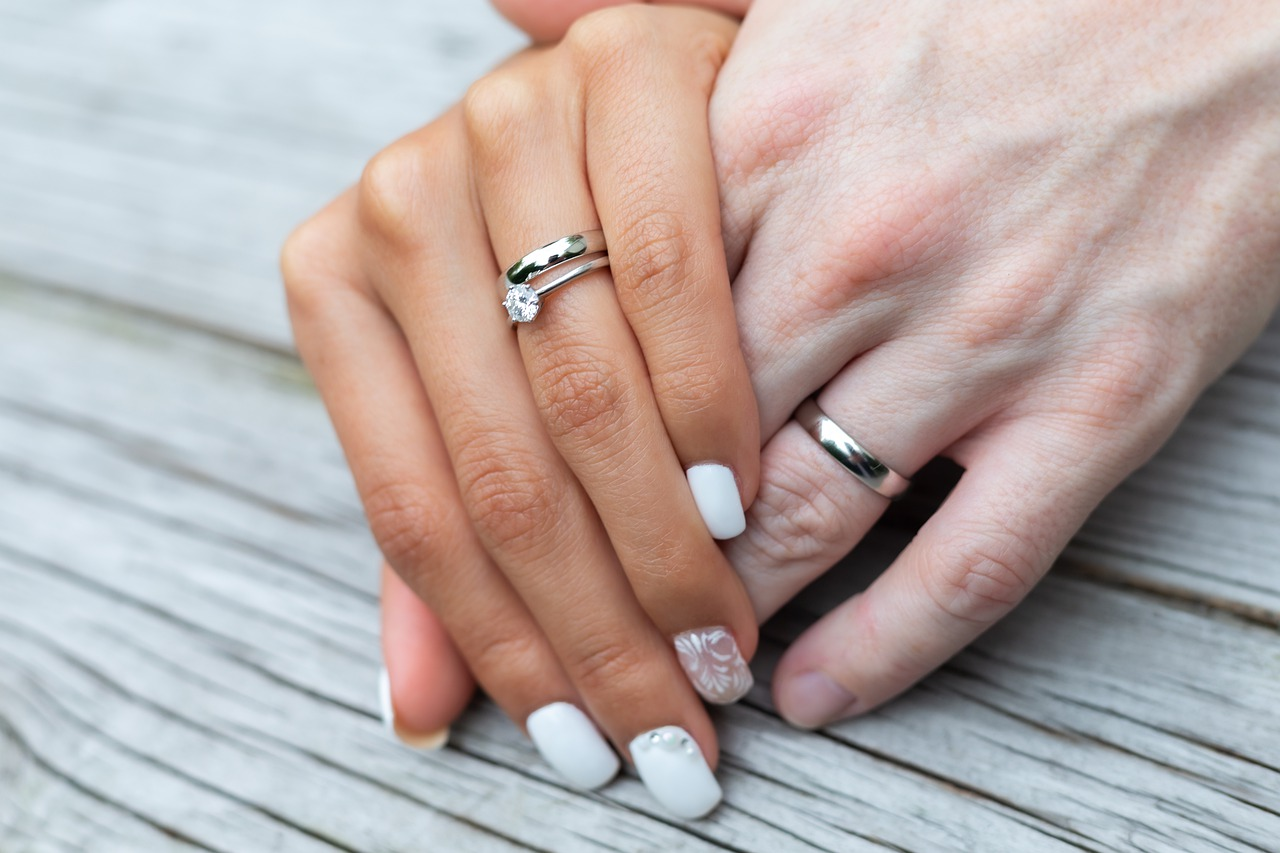 Small diamond engagement ring.