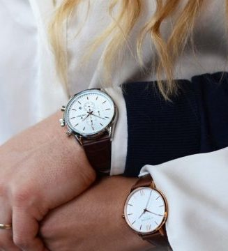 Wedding ouple wearing engagement watches