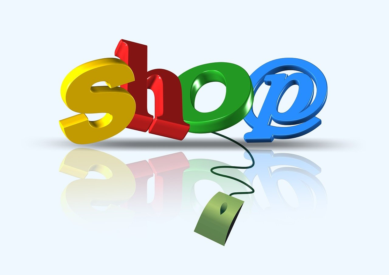 """An icon that reads, """"Shop"""", connected to a keyboard mouse."""