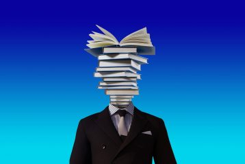 A graphic of a man whose head consists of books.